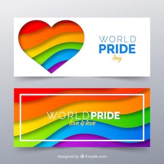 Banner di orgoglio lgbt in stile piatto