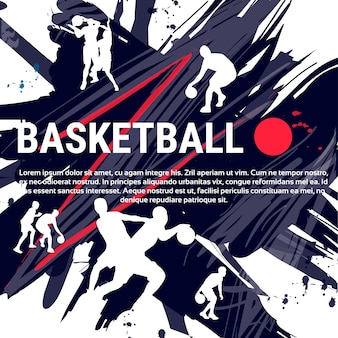 Banner di pallacanestro di giocatori sportivi sportivi