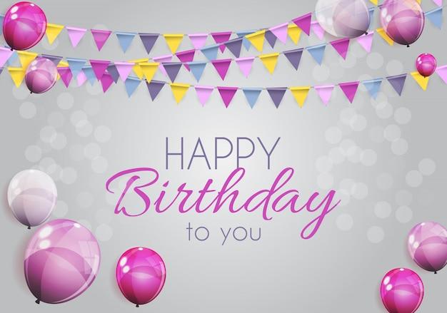 Banner di palloncini di buon compleanno lucido colore