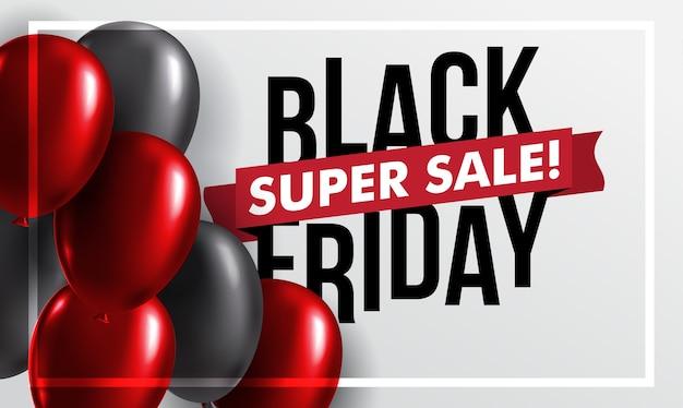 Banner di palloncino rosso e nero lucido di vendita venerdì nero
