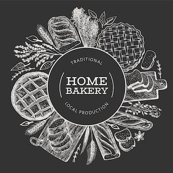 Banner di pane e pasticceria. illustrazione disegnata a mano di panetteria a bordo di gesso.