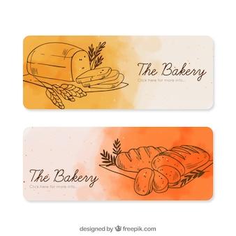 Banner di panetteria in stile acquerello