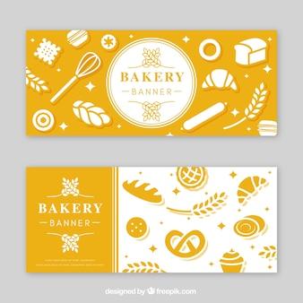 Banner di panetteria in stile piatto