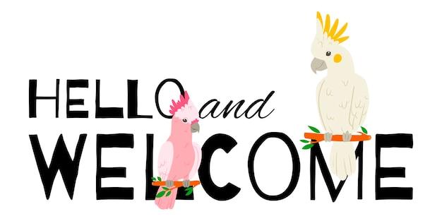 Banner di pappagalli. ciao e benvenuto. uccelli seduti rami.