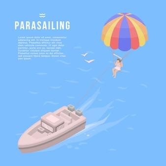 Banner di parapendio. illustrazione isometrica della bandiera di vettore parasailing per il web design