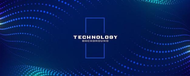 Banner di particelle incandescente blu digitale di tecnologia