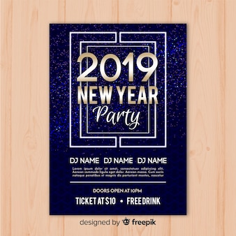 Banner di partito spaziale nuovo anno 2019