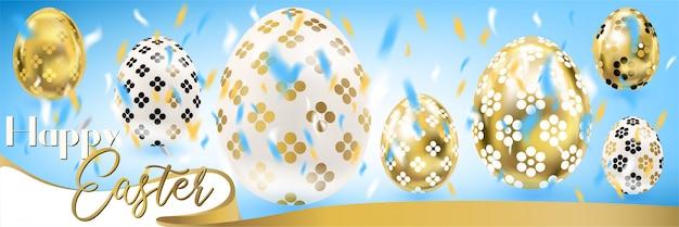 Banner di pasqua blu con uova d'oro e coriandoli