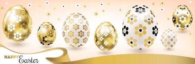 Banner di pasqua felice con uova d'oro e nastro di seta