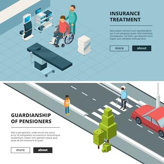Banner di persone con disabilità. illustrazioni isommetriche di gesso per invalidi attrezzature per la casa e l'ospedale attrezzature per sedie a rotelle camminatori stampelle gesso