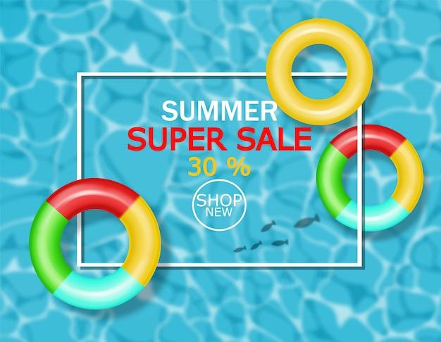 Banner di piscina estiva e salvagente