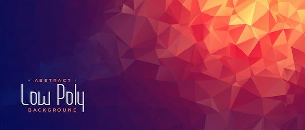 Banner di poli basso astratto con tonalità di luce arancione