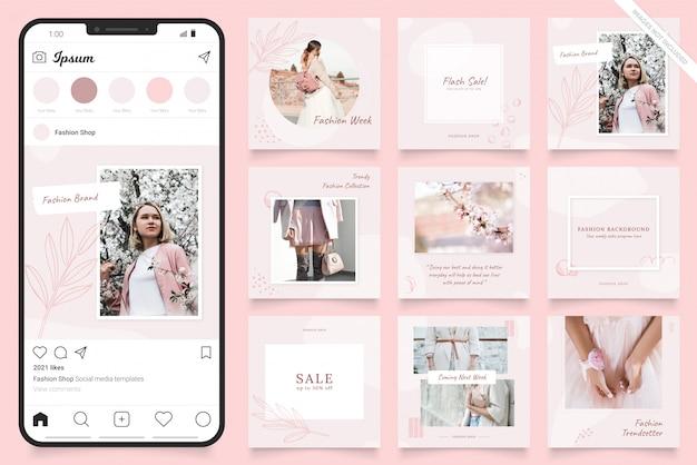 Banner di post sui social media di instagram per la promozione della vendita di moda