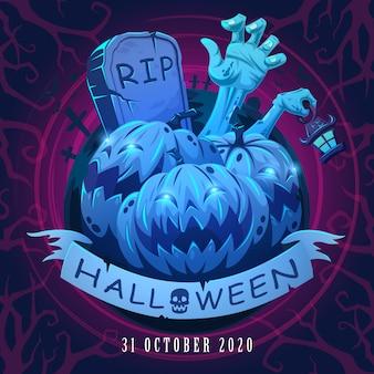 Banner di poster di halloween con disegno dell'iscrizione e spilla