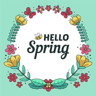 Banner di primavera ciao disegnati a mano
