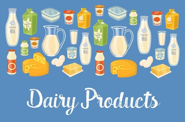 Banner di prodotti lattiero-caseari con icone di cibo naturale
