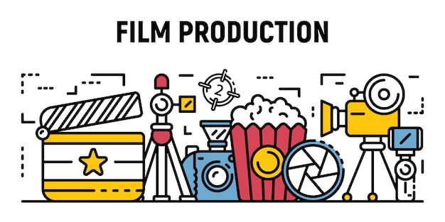 Banner di produzione cinematografica di studio, stile contorno