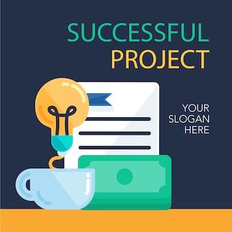 Banner di progetto di successo