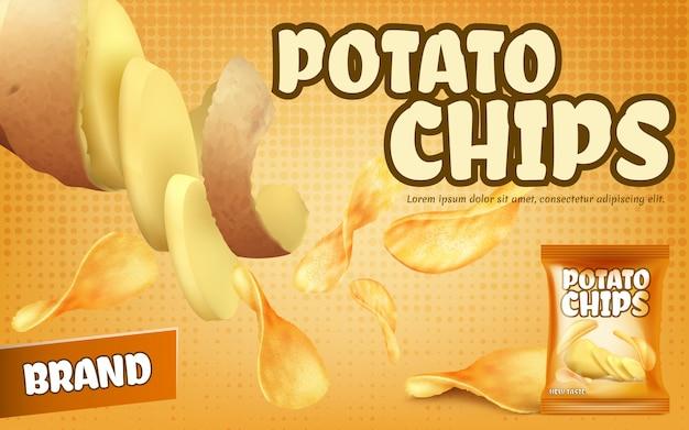 Banner di promozione con patatine fritte, pacchetto di fogli con snack salati croccanti