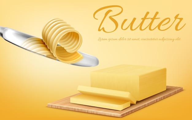 Banner di promozione con realistico bastone giallo di burro sul tagliere e coltello di metallo.