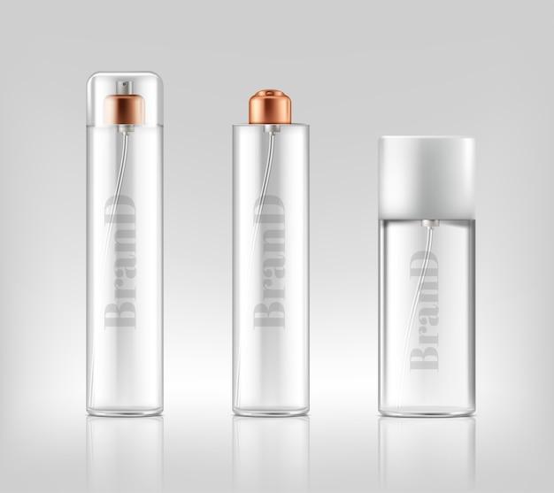 Banner di promozione con spray di vetro realistici, vasetti di cosmetici, gel, crema