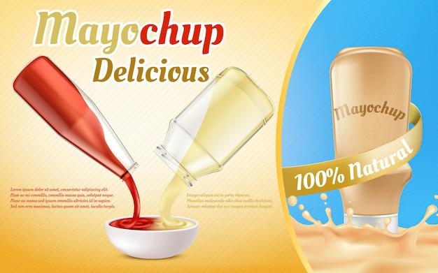 Banner di promozione della salsa mayochup. ketchup di pomodoro e maionese versando