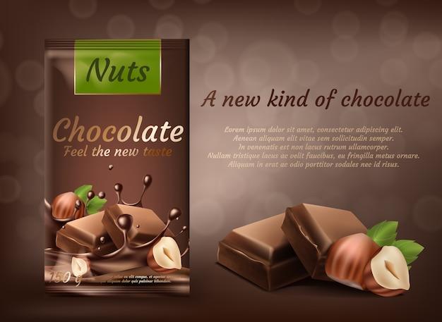 Banner di promozione, pacchetto di cioccolato al latte con nocciole isolato su sfondo marrone