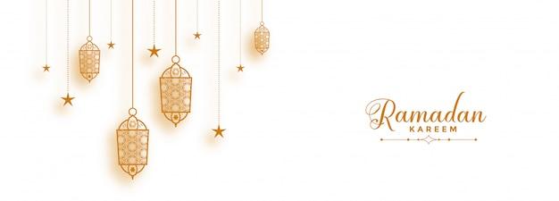 Banner di ramadan con lanterne islamiche decorative
