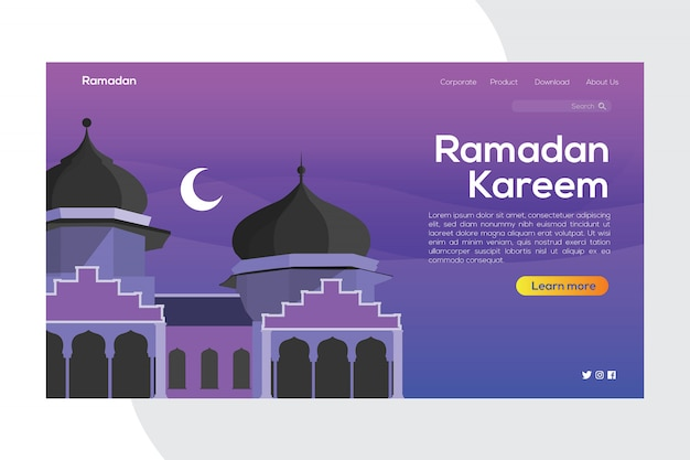 Banner di ramadan kareem della landing page