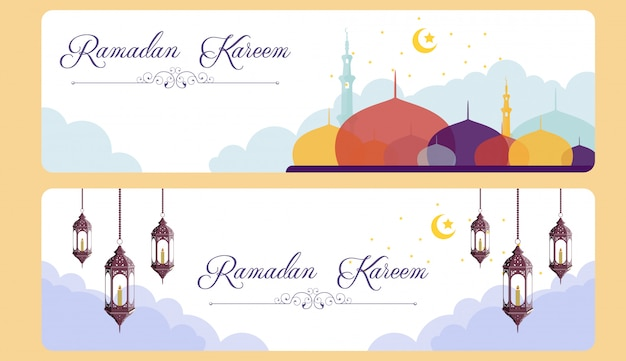 Banner di ramadhan kareem con moschea