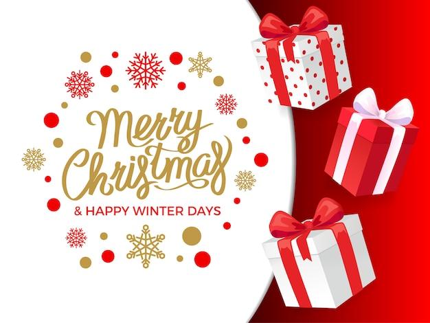Banner di regali di buon natale e happy winter days