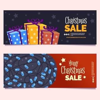 Banner di regali di natale confezionati e luci stringa