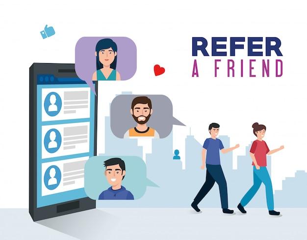Banner di riferire un amico con giovani e smartphone