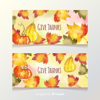 Banner di ringraziamento dell'acquerello