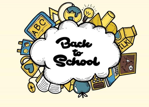 Banner di ritorno a scuola con elemento scolastico