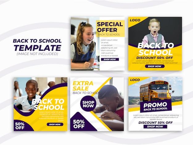Banner di ritorno a scuola impostato per modello di social media