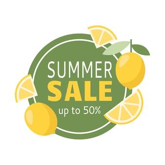 Banner di saldi estivi fino a 50 con limone per la decorazione