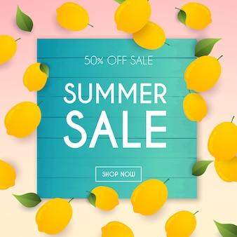 Banner di saldi estivi. poster, flyer,. limone su uno sfondo.
