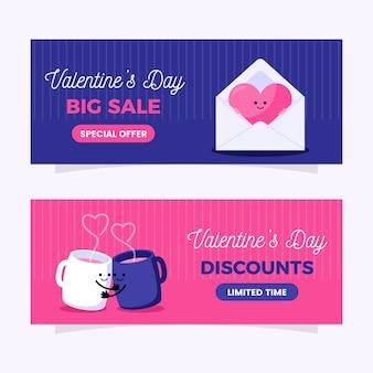 Banner di san valentino carino design piatto