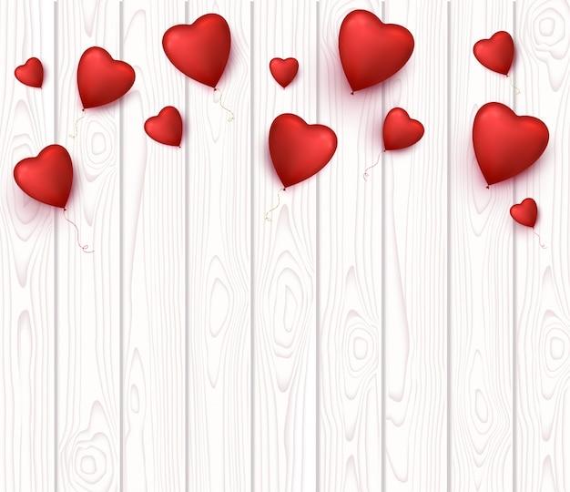Banner di san valentino con palloncini a forma di cuore.
