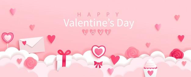 Banner di san valentino con simboli di vacanze-regali, cuori, lettere, fiori su sfondo rosa con augurando buone vacanze, stile origami.