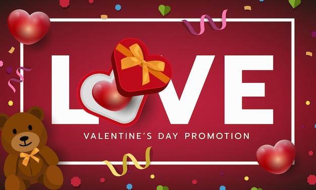 Banner di san valentino cornice rossa