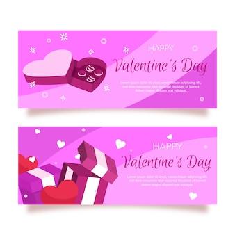 Banner di san valentino design piatto