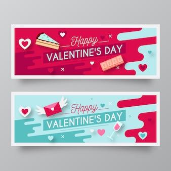 Banner di san valentino disegnati a mano