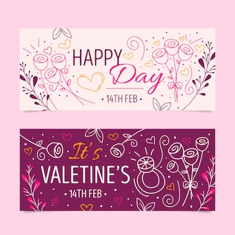 Banner di san valentino in design piatto