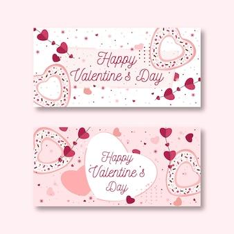 Banner di san valentino in design piatto