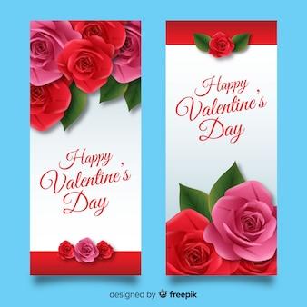 Banner di san valentino realistici