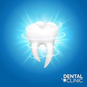 Banner di sbiancamento dentale e dei denti. set di illustrazione igiene orale, stile realistico. odontoiatria o stomatologia