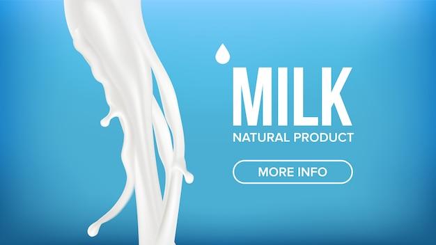 Banner di schizzi di latte