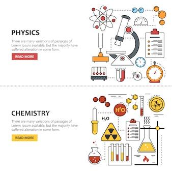 Banner di scienza chimica e fisica. laboratorio di lavoro e attrezzature scientifiche.